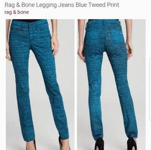 RAG & BONE TWEED PRINT JEAN LEGGING SIZE 24